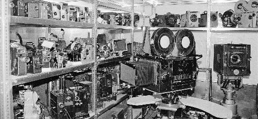 View of the technology collection, center/right: an Eclair Paris studio camera with modifications added by DEFA; Photo: J.K. Leopold